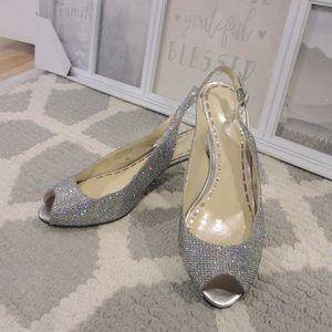 Enzo Angiolini Silver Peep Toe Slingback Sandal